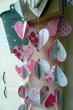VENTA diseñador guirnalda/móvil, corazones rosados, de papel en 3d, edición limitada
