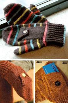 Knitting Pattern for Easy Subway Mittens - These mittens were designed with a po. Knitting Pattern for Easy Subway Mittens - These mittens were designed with a pocket perfectly sized for a mass-transit . Knitted Mittens Pattern, Knit Mittens, Knitted Gloves, Loom Patterns, Knitting Patterns, Crochet Patterns, Loom Knitting, Free Knitting, Small Knitting Projects