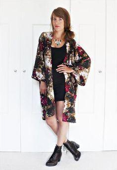 NEW floral print kimono jacket S/M