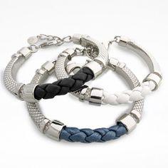 Rhodium Hand-Braided Genuine Leather 'Trenza' Bracelet