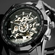Buy Mens Skeleton Mechanical Watch Steampunk Dial Stainless Steel Band with Gift Box Relojes Hombre Montres Hommes at Wish - Shopping Made Fun Skeleton Mechanical Watch, Skeleton Watches, Sport Watches, Cool Watches, Watches For Men, Amazing Watches, Wrist Watches, Men's Watches, Fashion Watches