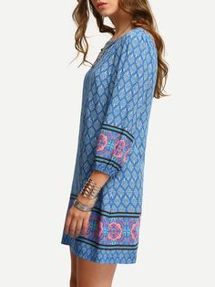 Shop Multicolor Vintage Print Zipper Back Shift Dress online. SheIn offers Multicolor Vintage Print Zipper Back Shift Dress & more to fit your fashionable needs.