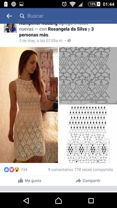 Vanda Lucia Ferreira's media content and analytics Crochet Stitches Chart, Crochet Shawl Free, Crochet Tunic, Crochet Art, Crochet Woman, Crochet Clothes, Black Crochet Dress, Cocktail Gowns, Crochet Dresses