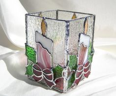Peppermint Candy Stained Glass Candle Holder by hobbymakers