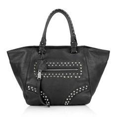 Abro Tasche – Mokka Calf Leather Tote Black/Nickel – in schwarz – Henkeltasche für Damen