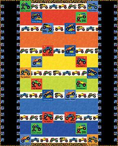 Monster trucks Toddler Quilt boys bright colors by GailsStitches ... : monster truck quilt - Adamdwight.com