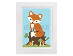 258 Fox Art Print  Fox Sitting on Tree Stump Wall by leearthaus