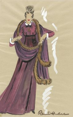 Costume Sketch of Merle Oberon as the Empress Josephine in the 20th Century Fox Production of 'Desirée', René Hubert