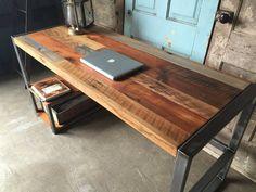 Reclaimed Wood Desk With Lower Shelf  Metal Frame Base | Etsy