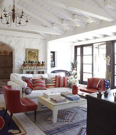 Red, white and blue living room, timeless yet fun!