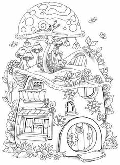 Adorable Mushroom House Colouring Book Page Cant You Envision A Fairy Living Here