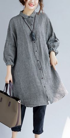 stylish-black-Plaid-cozy-cotton-t-shirt-oversize-Turn-down-Collar-cotton-blouses-Fine-long-sleeve-tops