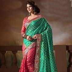 Teal Green and Pink Art Silk Brocade Saree with Blouse