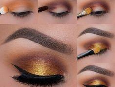 tuto maquillage yeux marrons, eye-liner noir, fard à paupière jaune dorée, pinceau maquillage