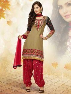 Dark Beige Cotton Suit With Zari Embroidery Work Indian Salwar Suit, Punjabi Suits, Indian Wedding Outfits, Indian Outfits, Latest Salwar Kameez, Salwar Suits Online, Cotton Suit, Dark Beige, Dresses Online