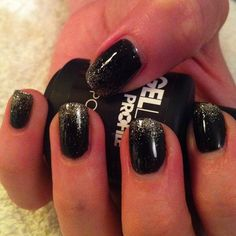 Black with gold glitter ombre