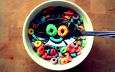 Smiley Face Tags Cereal Fruit Loops Bowl Image Resolution X Wallpapers Resolution : Filesize : MB, Added on August Tagged : smiley face Funny Breakfast, Breakfast Cereal, Eat Breakfast, Positive Wallpapers, Funny Wallpapers, Food Humor, Funny Food, Im Happy, I Smile