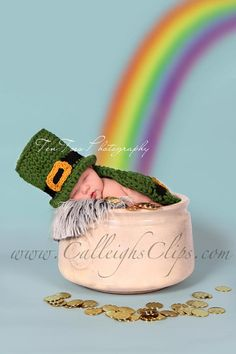 Crochet Pattern - No. 53 - Luckiest Leprechaun- Cuddle Cape Set  - Newborn Photography Prop. $5.95, via Etsy.