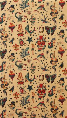 Alexander Henry Fabric Old School Tattoo Tea Tan by voodoobetty, $23.07