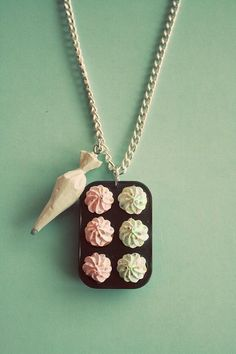 Bakers necklace! I know this board is for cupcakes but these are cupcakes too right? Plus they are too adorable!