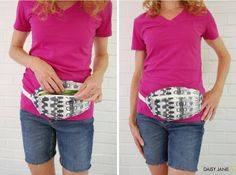 daisyjanie hip pouch tutorial  --  I've managed to get to a ripe old age w/o wearing a fanny pack, but always feeling like I'm juggling while trying to exercise these days...  this may be the answer