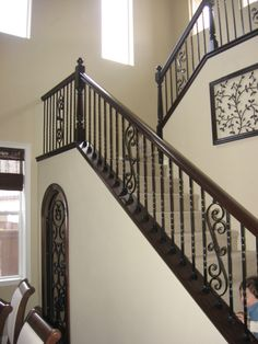 Wooden Stairs With Runner Wrought Iron 38 Ideas Wrought Iron Stair Railing, Stair Railing Design, Iron Balusters, Staircase Railings, Staircases, Railing Ideas, Bannister, Concrete Stairs, Wood Stairs