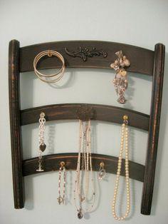 creative uses for old chairs diy upcycle Jewelry Holder Wall, Jewelry Rack, Jewelry Armoire, Jewellery Storage, Jewellery Display, Jewelry Organization, Diy Jewelry, Jewelry Box, Hanging Jewelry