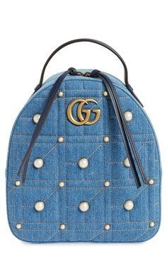 GUCCI GG MARMONT 2.0 IMITATION PEARL EMBELLISHED DENIM BACKPACK - BLUE. #gucci #bags #denim #backpacks #