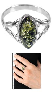 Green Amber Celtic Ring - North/South at The Animal Rescue Site - funds 28 bowls of food.