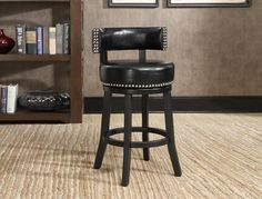 "Natasha  Swivel  Counter Height  Stool  Black Bonded Leather  with Nailhead Accents  24"" Seat Height     C/M 2799C-24-BK"