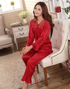 3d38a4892b faux silk men sleepwear mens pajamas Men s Sleep  amp  Lounge male Pajama  Sets satin men