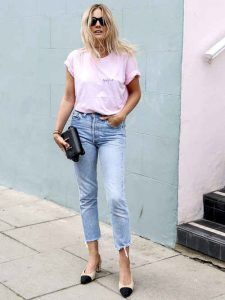 Pink and jeans Fashion Me Now, Uñas Fashion, Fashion Looks, Estilo Blogger, Look Street Style, Street Chic, Casual Chic, Look T Shirt, Outfits Mujer