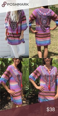 """Bright Vivid Tunic S,M,L,XL Bright refreshing tunic.  Has such a bohemian vibe to it.  Pretty true to size.  Material is 65% cotton and 35% polyester.  Great for going to the beach, running around, tropical vacation.  You can pair with skinny jeans, jeggings, leggings or wear it as a dress.  I'm modeling the Medium 5'7"""" and 118lbs. Tops Tunics"""