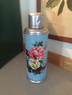 Vintage Chinese Thermos Bottle Aqua Floral Print Large RARE Gorgeous #Chinese