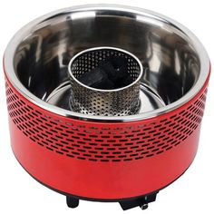 Round Portable Smokeless BBQ Home Outdoor Kitchen Red Durable Dishwasher Safe