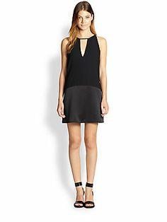 Parker Stacey Crepe & Satin Dress