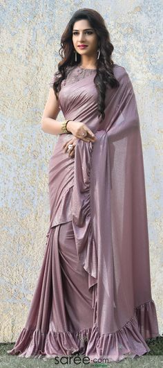 Mauve Shimmer Glitter Ruffle Saree with Floral Blouse Indian Dresses, Indian Outfits, Sarara Dress, Sari Design, Saree Blouse Neck Designs, Satin Saree, Stylish Girl Images, Fancy Sarees, Gorgeous Wedding Dress