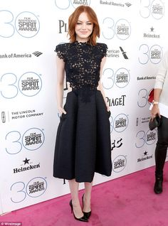 Glowing: Emma Stone looked gorgeous in a sophisticated black dress as she arrived at the 2015 Film Independent Spirit Awards on Saturday