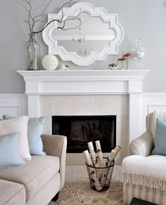 Benjamin Moore - Tranquility.... Beautiful paint color and the mirror is really fun