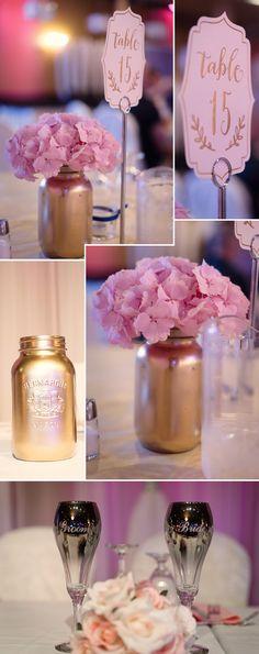 Tischdeko zur Hochzeit in Rose und Gold Fotos: © Daphne Chen Photography