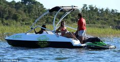 Wave Boat 444 converts a jet-ski into a five-seater boat Wave Boat, Choppy Water, Sun Roof, Farm Hero Saga, Jet Ski, Skiing, Engineer, Mail Online, Daily Mail
