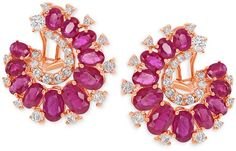 Diamond (1-1/8 ct. t.w.) and Ruby (8 ct. t.w.) Earrings in 14k Rose Gold