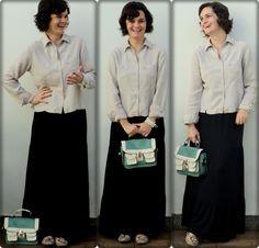saia longa preta + bolsa maletinha + detalhes clique na imagem.