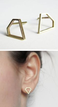 Diamond shaped stud earrings | via Uncovet #jewelry_design