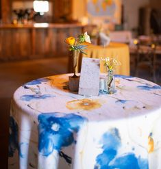Summery blue and yellow floral print Van Gogh Linens