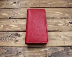 Red leather smart phone wallet for iPhone, Samsung Galaxy phone, Google Pixcel etc.