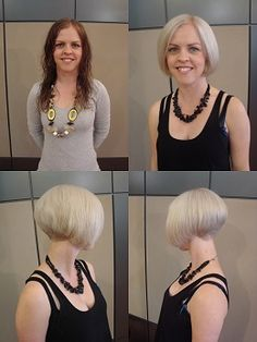Before and after: long brown hair to beautiful inverted bob (Matthew Kane Hairdresser - Hairstyle Gallery)