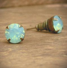 Mint Green Opal Rhinestone Stud Earrings Brass