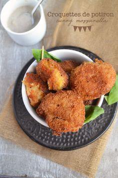 Croquettes de potiron et mozzarella au curry, sauce champignons