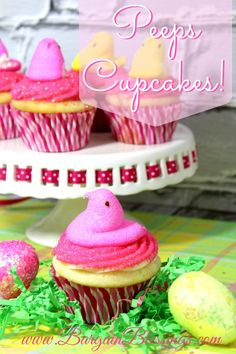 Recipe: Peeps Cupcakes {with made from scratch marshmallow cake}! #cupcakes #easter